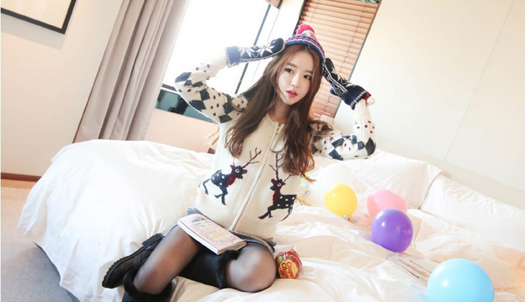 韩国服饰网 cherry-spoon圣诞风甜美可爱小鹿针织开衫